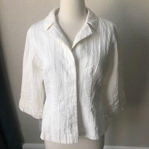 Escada Cotton Textured Jacket White 36 US 6